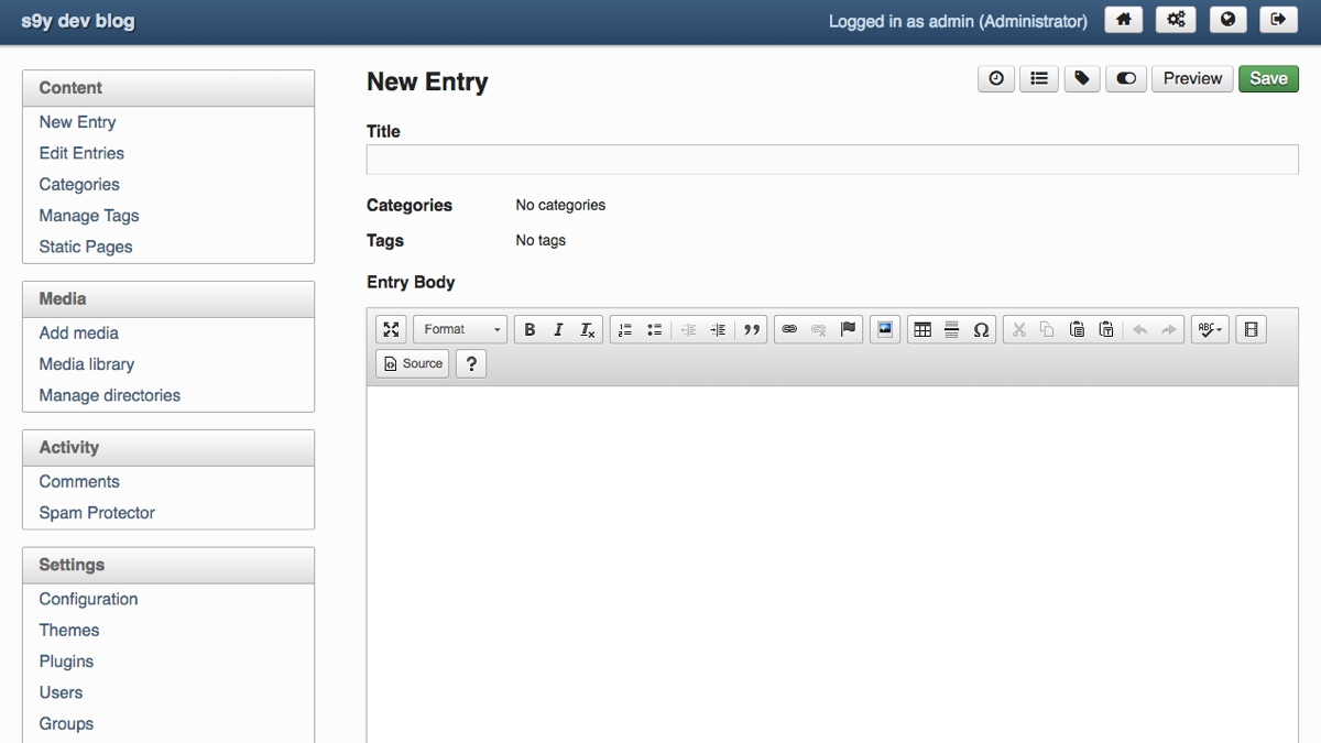 serendipity a reliable, secure and extensible php blogdashboard · frontend · entry editor